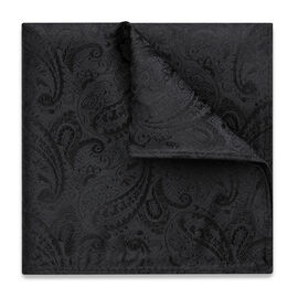 RAVELLO POCKET SQUARE, Black, hi-res