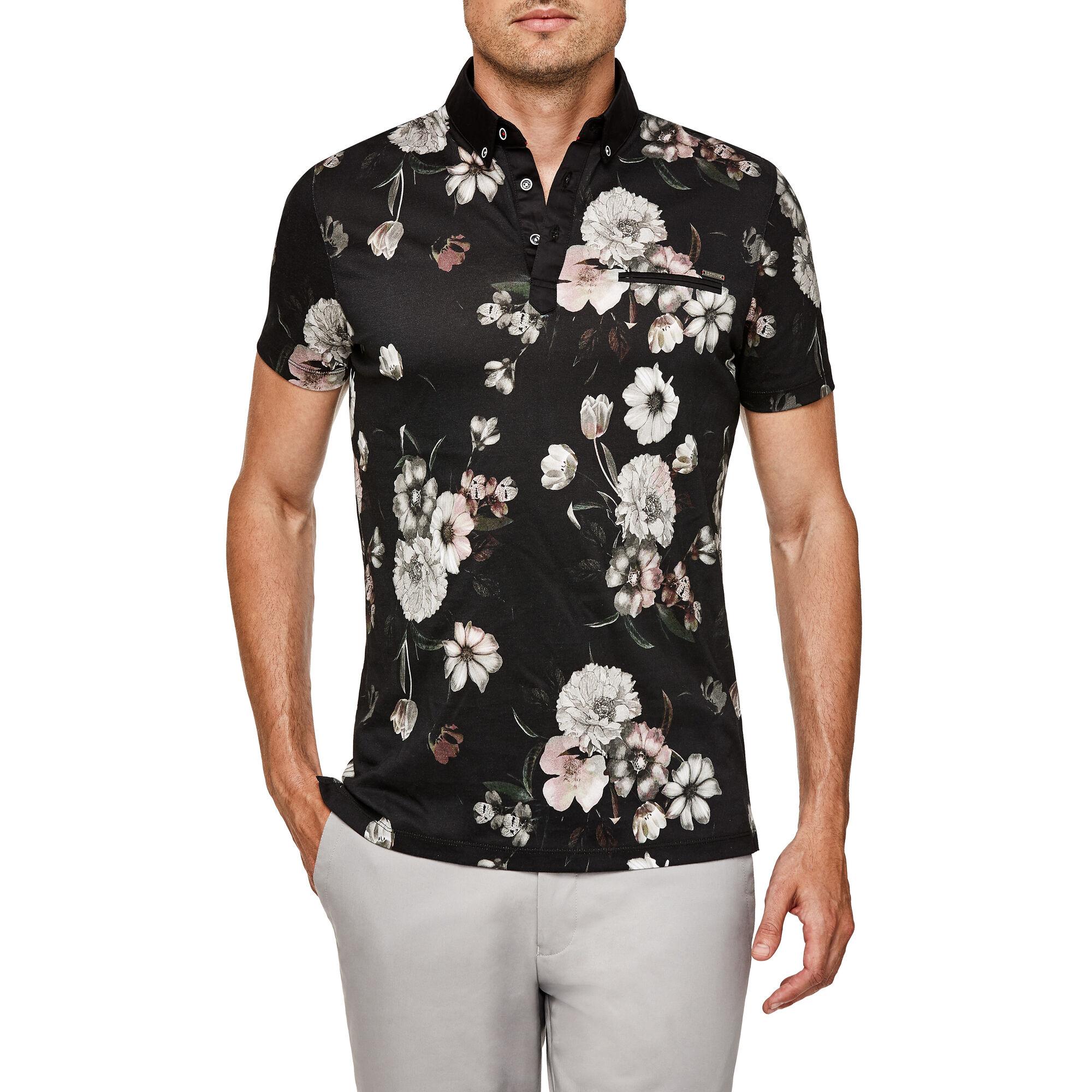 948ce067ab Alann - Navy Floral - Slim Cotton Floral Print Polo Shirt | Politix