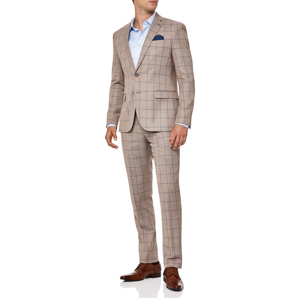 HADLEY SUIT PANT, Tan Check Window Pane, hi-res