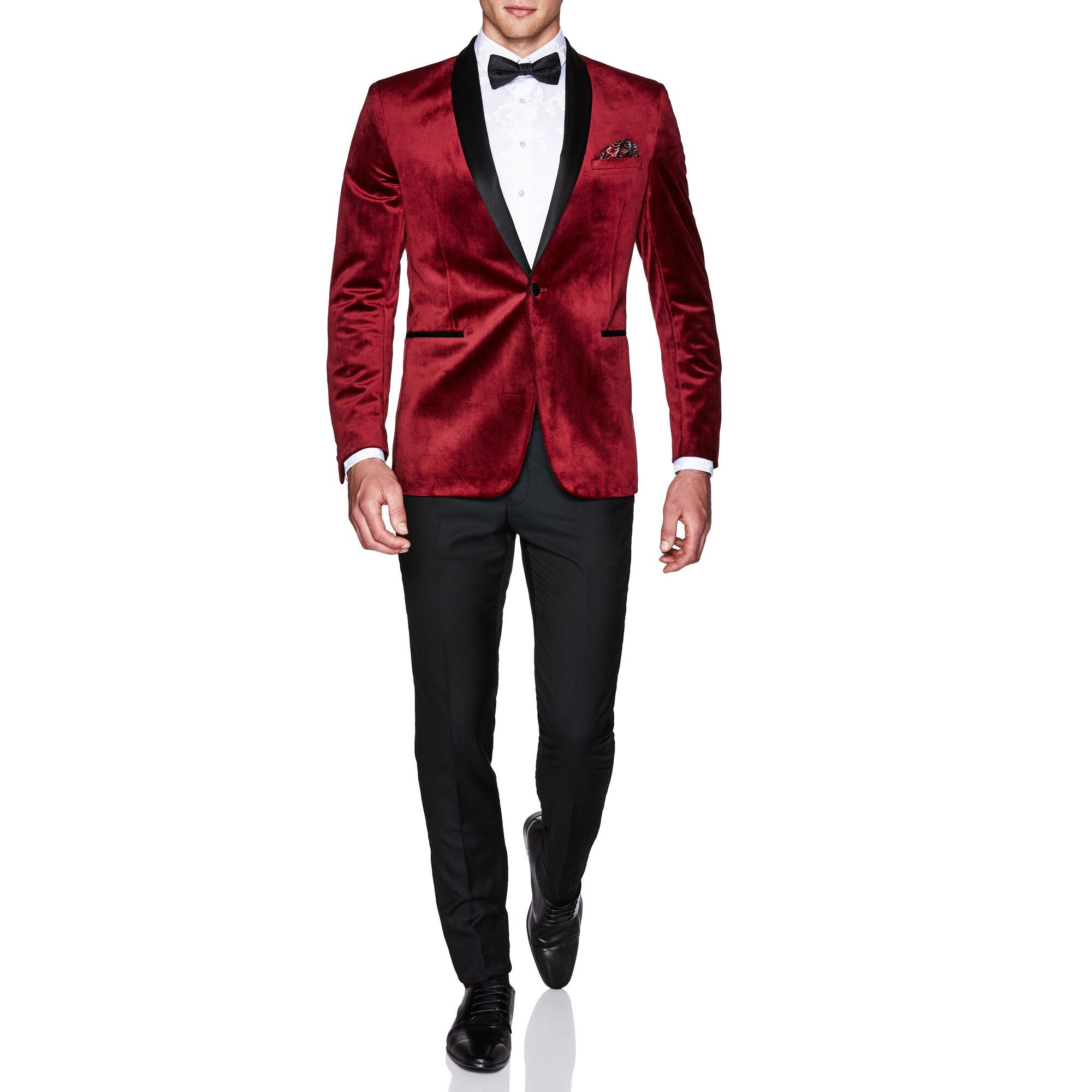 f9d6980dcd1d Sorren - Burgundy - Slim Velvet Tuxedo Jacket   Politix
