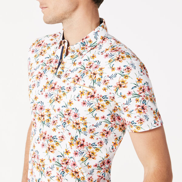 CLOVELLY POLO SHIRT, Multi Floral, hi-res