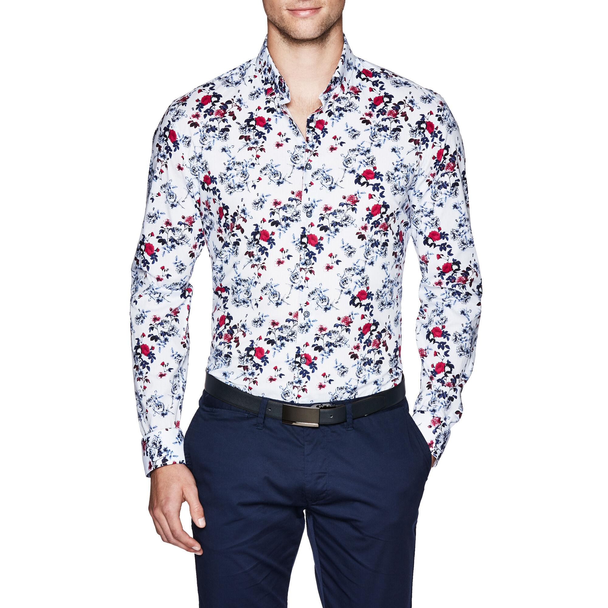 b31771362fe Payton - White/Pink - L/S Floral Print Shirt | Politix
