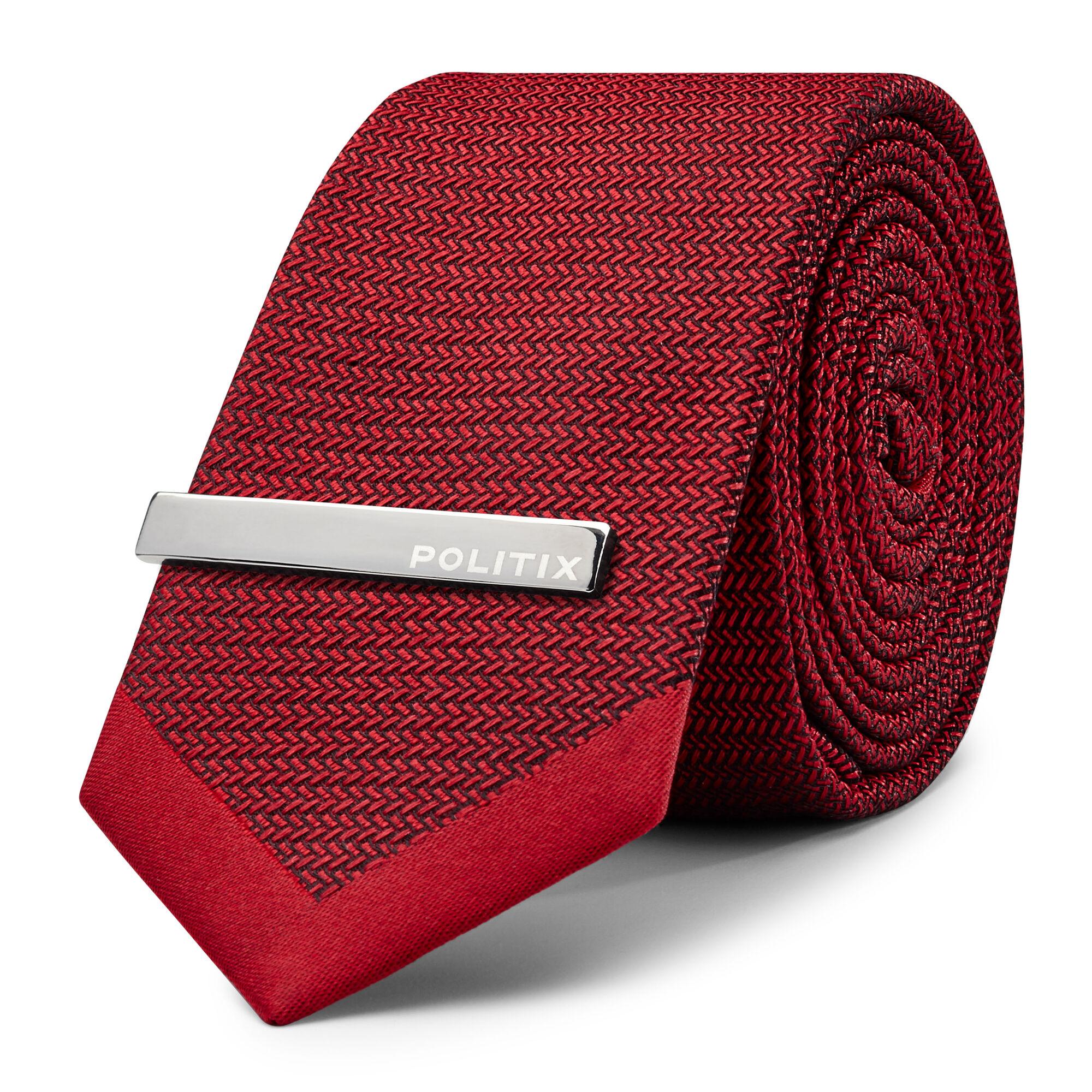 f8c355e96af1 Keaton - Red - Herringbone Slim Tie W/ Tie Bar | Politix