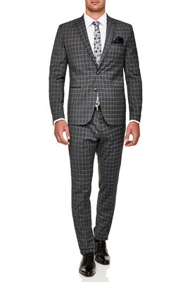 RIVERSIDE SUIT JACKET, Charcoal Check, hi-res
