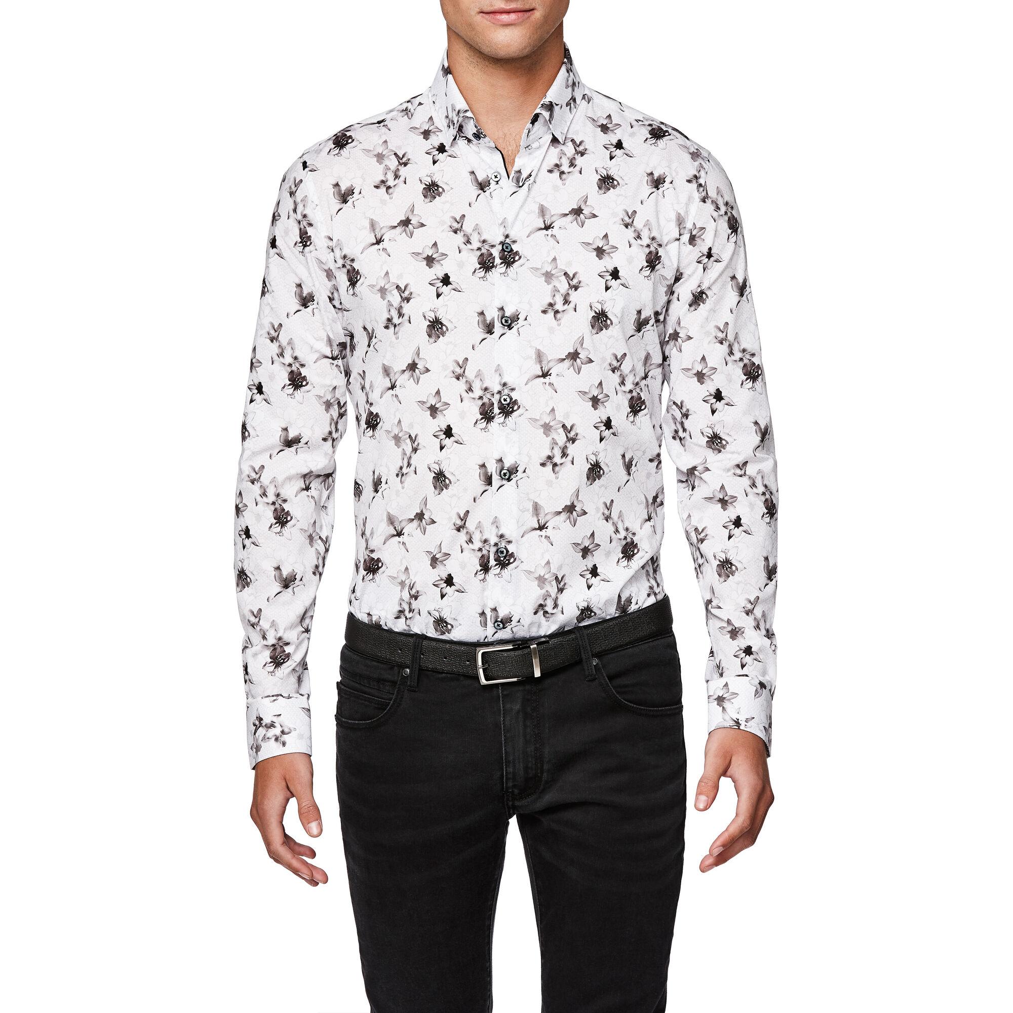 9f86834a751a07 Bate - White/Silver - L/S Floral Button Down Shirt | Politix