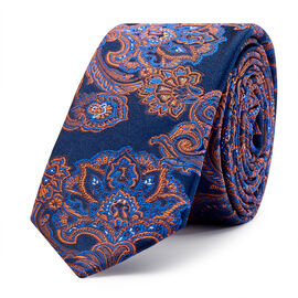 Matino Tie, Navy/Orange, hi-res