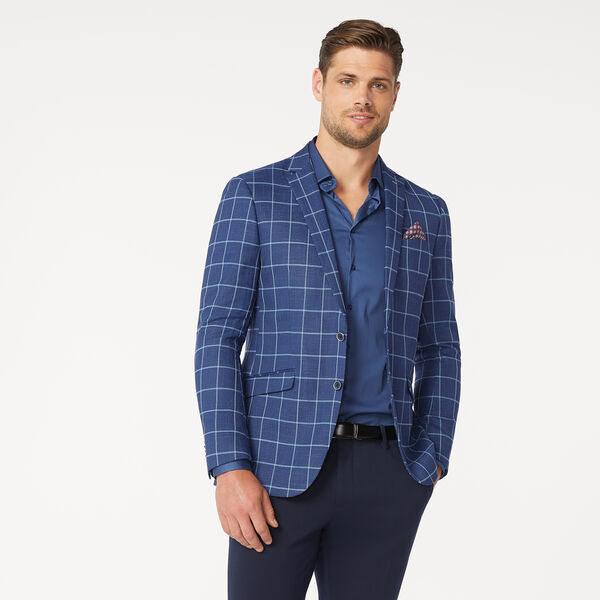 JASPER BLAZER, Blue Windowpane, hi-res
