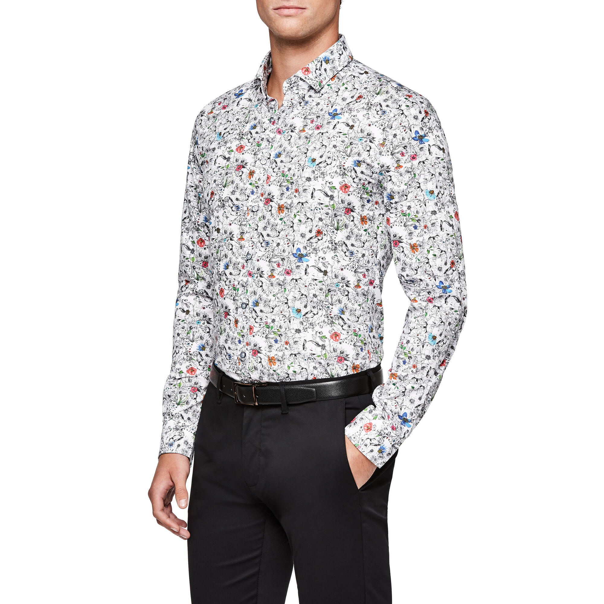 6a0c2d5dbdeb90 Collin - Multi Floral - L/S Italian Fabric Floral Shirt | Politix