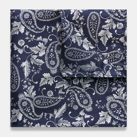 RAVALLE POCKET SQUARE, Navy/Silver, hi-res