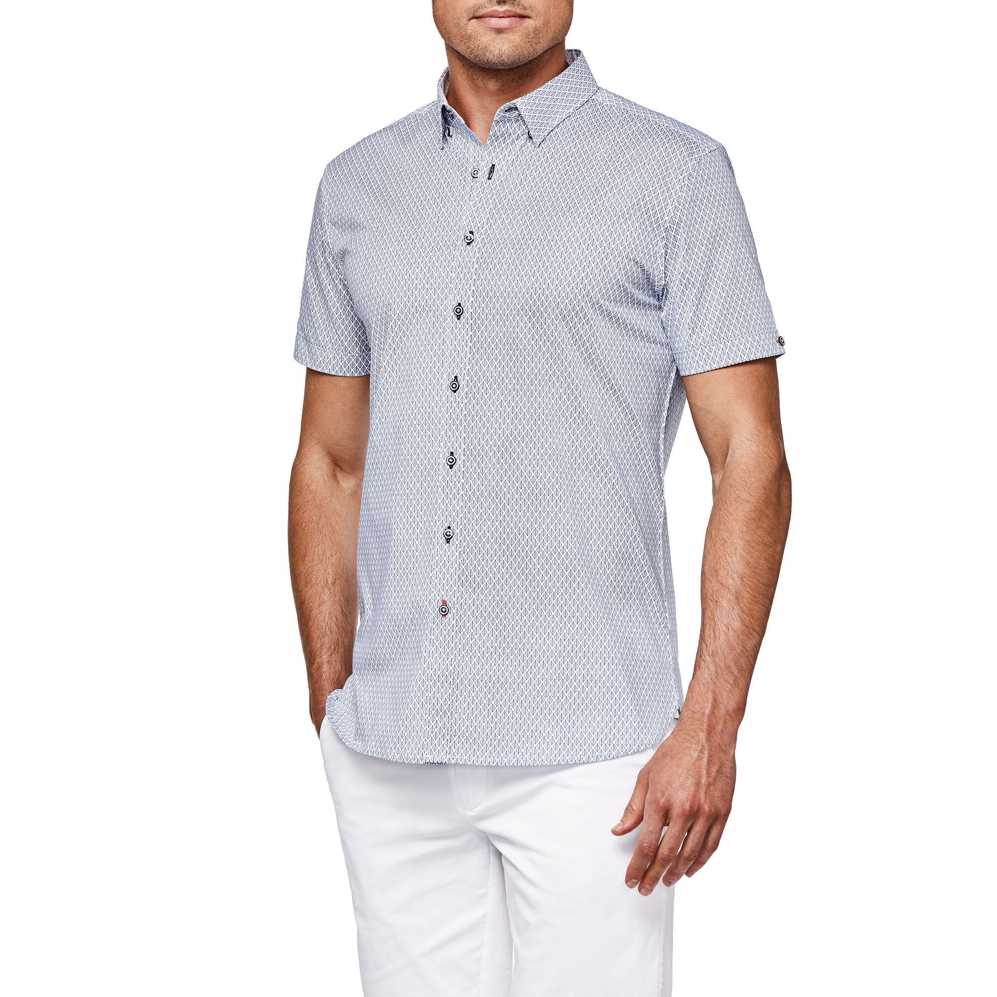 a5179a3a826 Blackwell - White Blue - S S Button Down Print Shirt