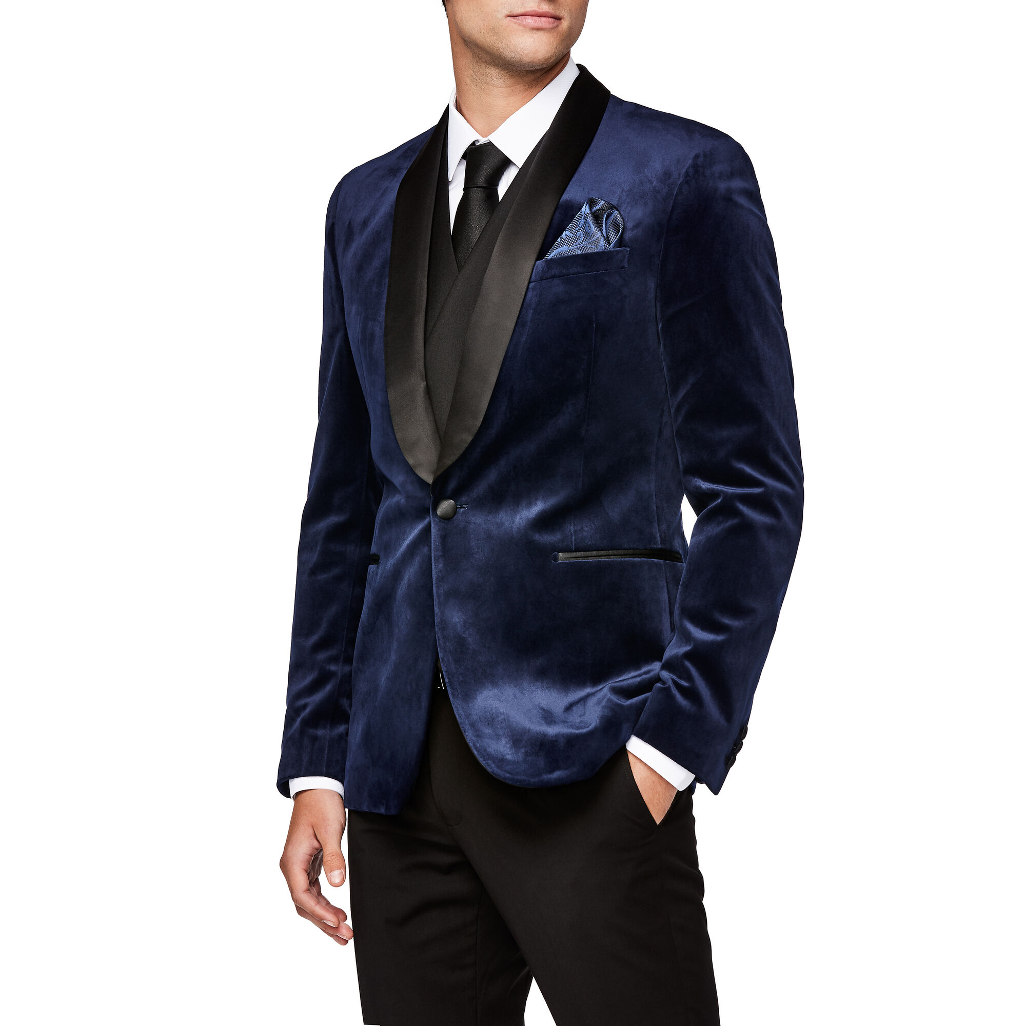 850c373808d5 Demonte - Royal - Navy Slim Tux Velvet Jacket | Politix