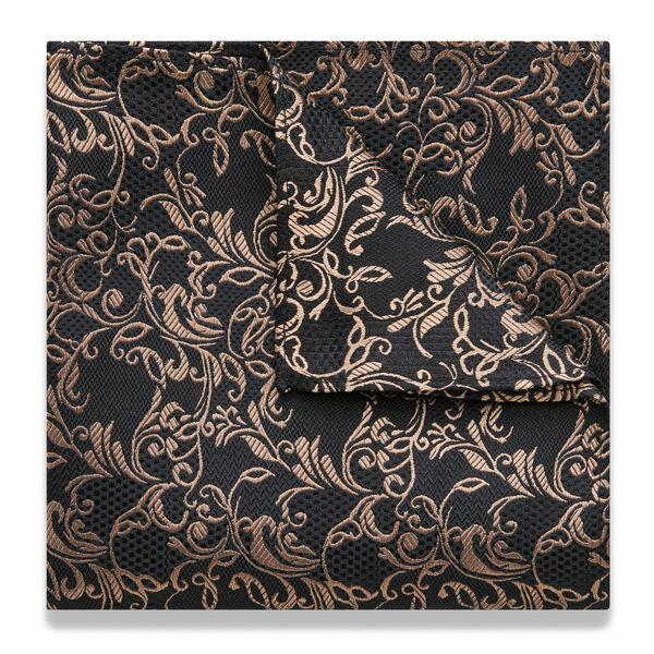 Volsini Pocket Square, Black/Gold, hi-res