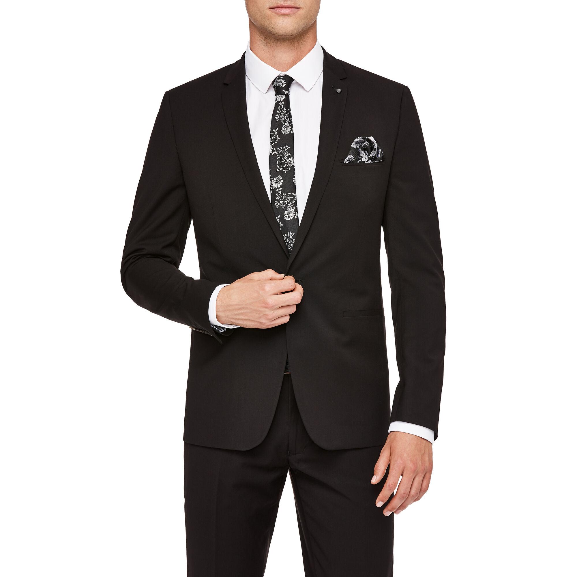 Fenwick - Black - Ultra Slim One Button Suit Jacket | Suit ...