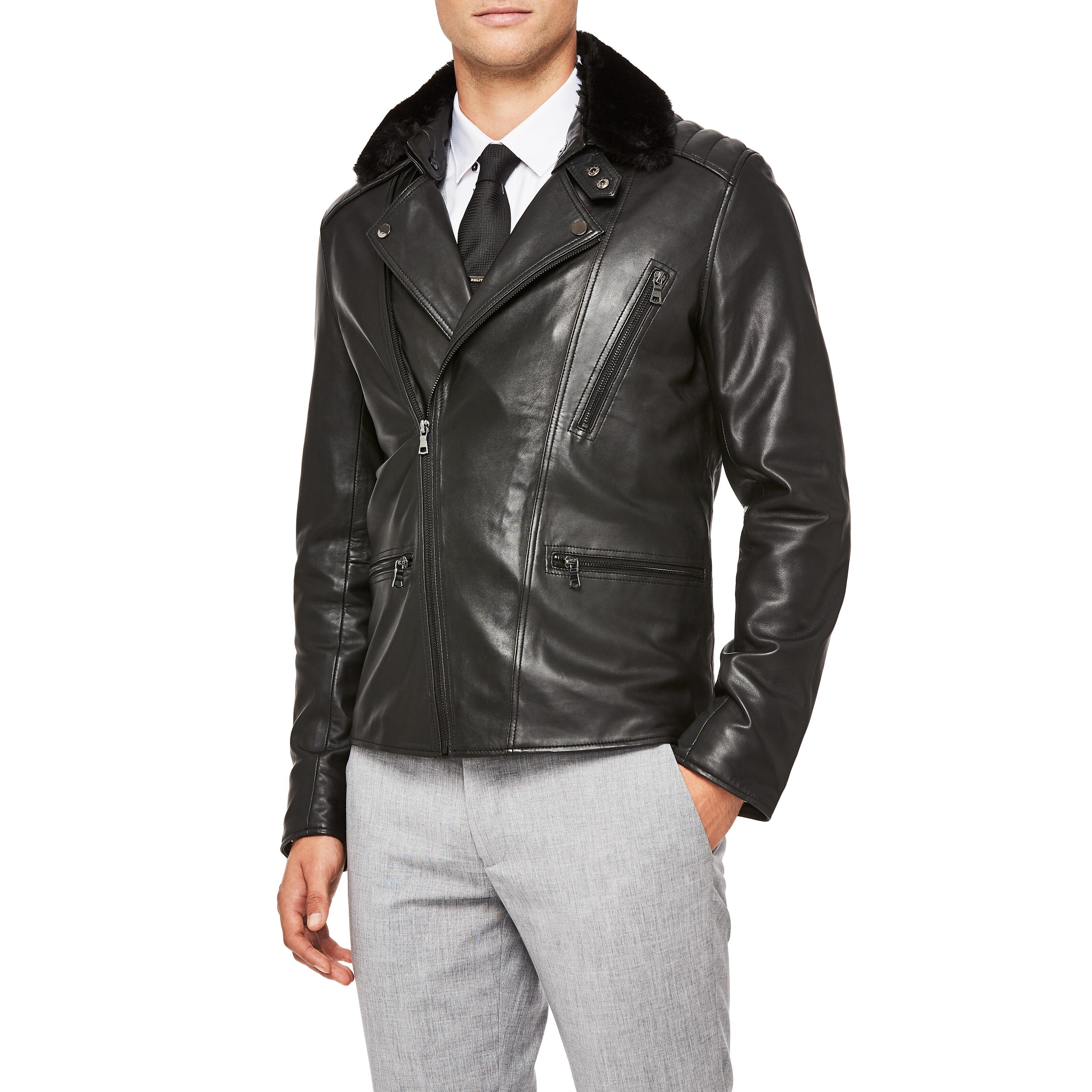 Colbert Black Asymmetric Biker Fur Leather Jacket
