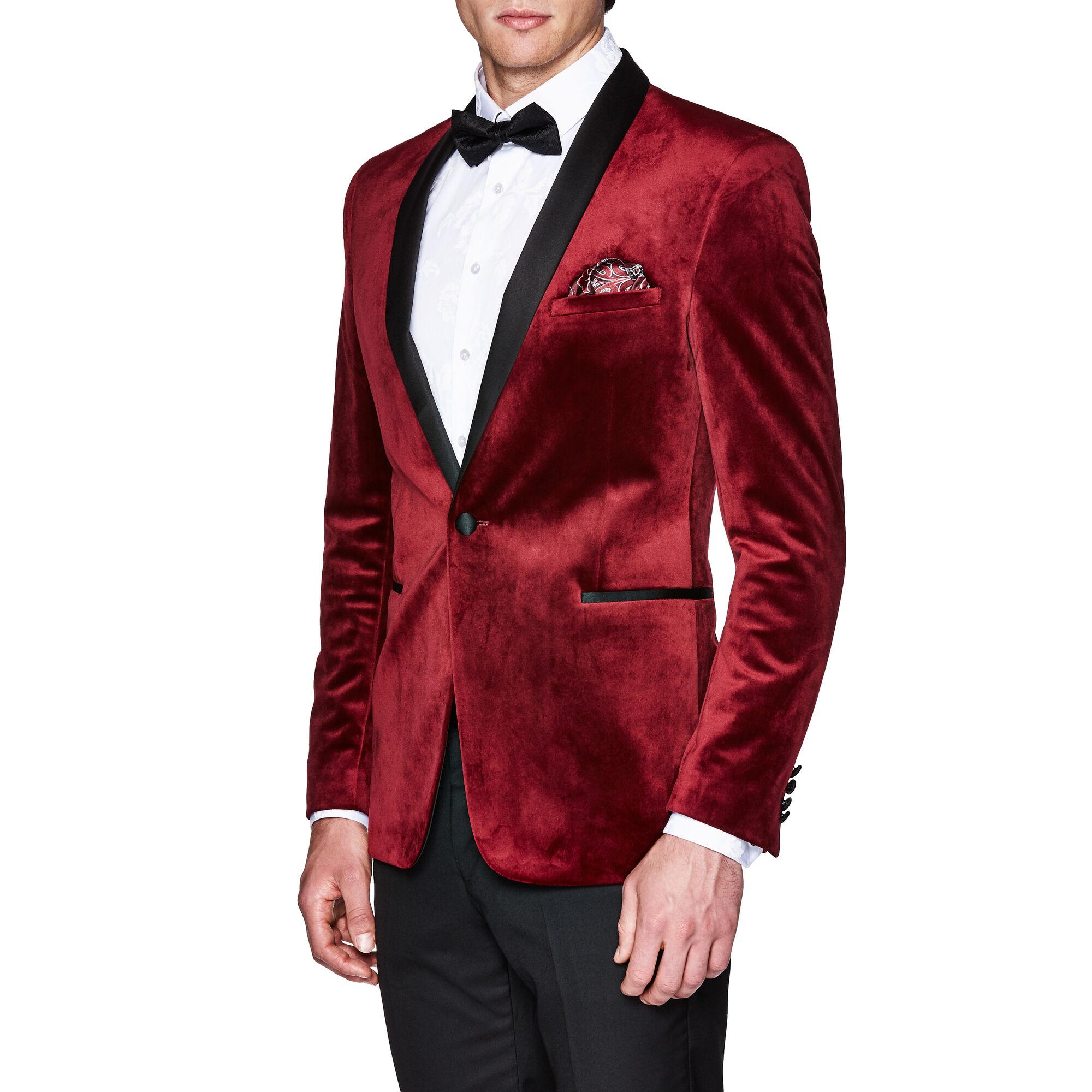 764e020be49f Sorren - Burgundy - Slim Velvet Tuxedo Jacket   Politix