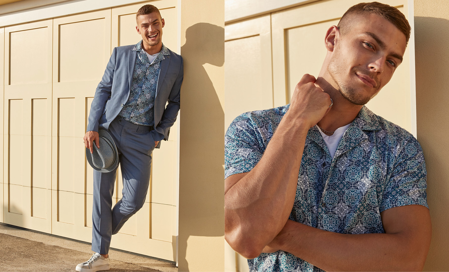 suit and t shirt combination