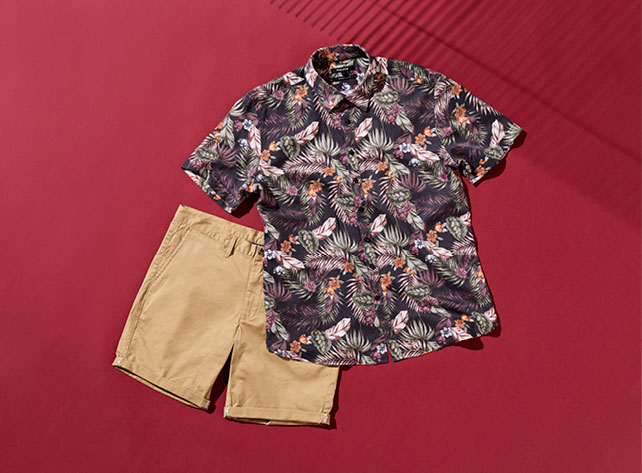 short sleeve tropical button down shirt and chino short