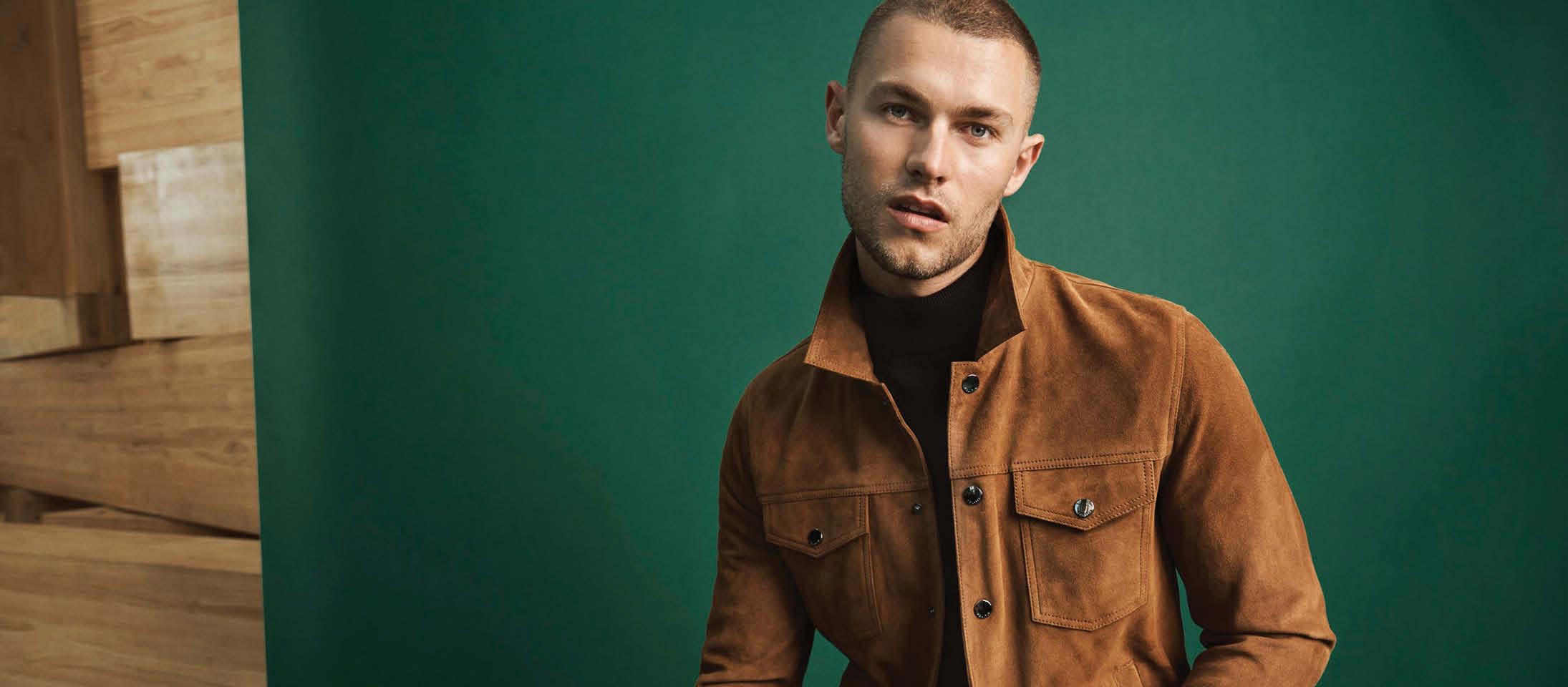brown trucker jacket